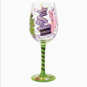 "Lolita hand painted ""tipsy birthday"" wine glass"